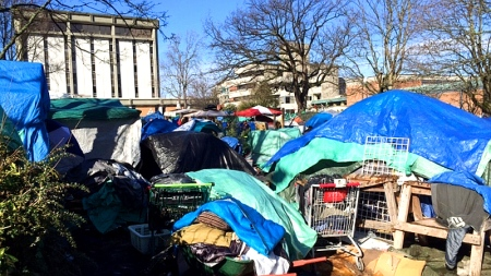 About 100 people have been camping on the lawn of the Victoria courthouse since the fall. (Megan Thomas-CBC)