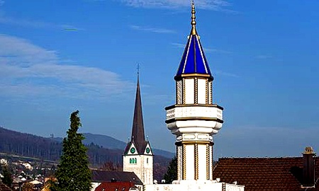 Minaret on the roof of a Turkish cultural centre in Wangen bei Olten